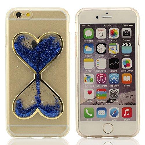 """Sanduhr Gestalten Entwurf Kristall Klar Transparent Gel Fließend Flüssigkeit Funkeln Pulver Schutzhülle Hülle Case Cover für iPhone 6S / iPhone 6 4.7 Zoll (iPhone 6 Plus 5.5"""" nicht fit) ( Blau ) [Thin Blau"""