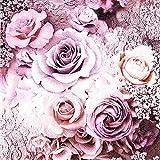 20 Servietten Rosen Hochzeit Vintage Blumen lila Frühling Sommer 33 x 33cm