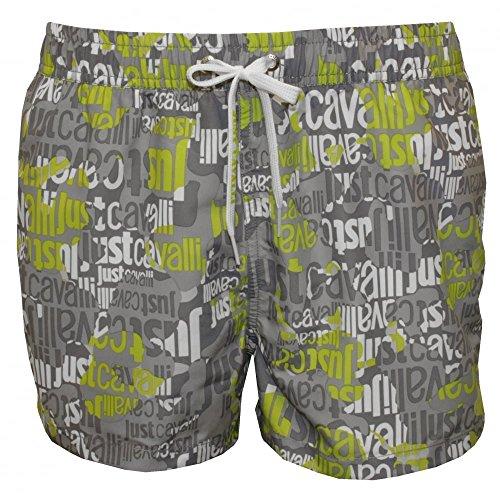 Ein Swimmingpool Just Cavalli Ganzen Logo Herren Shorts, Grau/limette XL (Cavalli Bademode)