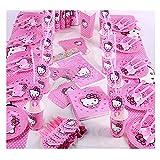 Hello Kitty Party Zubehör Kindergeburtstagsset 145Pcs-Tassen,Teller,Servietten,Tischdecke,Messer,Löffel,Gabeln,Einladungskarte,Popcorn Boxen,Strohhalme,Gebläse,Horn, Banner,Augenmaske,Geschenktüte,Hut