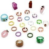 24 قطعة حلقات الراتنج الاكريليك لطيف عصري خواتم للنساء، خواتم حجر الراين الملونة قابلة للتكديس خاتم مكتنز بلاستيك مربع مجوهرا
