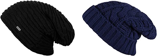 Noise NOICAPWNTRCMB064 Polyester Fleeced Twist Smoke Wave Knitted Beanie Combo, Adult Pack of 2 (Multicolor)
