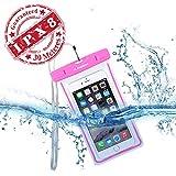Avantree Wasserdichte Handy Hülle Case [bis 30m Wassertiefe IPX8 Zertifiziert], durchsichtige Beutel Handytasche, Leuchtet im Dunkeln | bis 6 Zoll Bildschirmgröße, Universell für iPhone, Samsung, Huawei und viele mehr - pink- Jellyfish