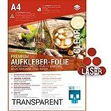 SKULLPAPER Premium Klebefolie transparent/Vinylklebefolie/Selbstklebefolie für Laserdrucker Plotter - Dekorfolie (A4-10 Blatt)