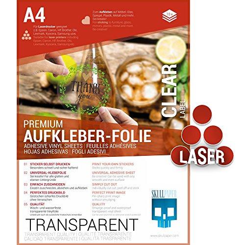 SKULLPAPER Klebefolie transparent zum aufkleben und selbst gestalten - für Laserdrucker (A4-10 Blatt)