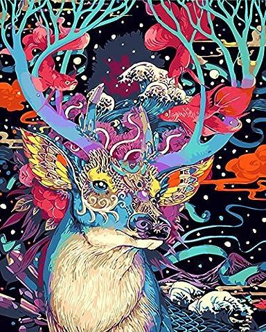 Sans cadre, Peinture par numéros Peinture à l'huile de bricolage Décoration florale colorée de cerf floral Décoration d'art de mur par Rihe
