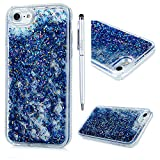 Cover iPhone 7, Glitter Brillanti QuickSand Brillantini - MAXFE.CO Custodia Sottile ANTIURTO Rigida Plastica con i Bordi Silicone TPU Bumper Case Prottetiva per iPhone 7 - Diamante Blu