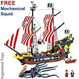 Large pirate Ship & FREE mechanical squid Included - compatible building block construction toys (308+1305)