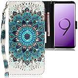 CLM-Tech kompatibel mit Samsung Galaxy S9 Plus Hülle, PU Leder-Tasche mit Stand, Kartenfächern, Lederhülle Kunstleder, Blume Ornament grün Mehrfarbig