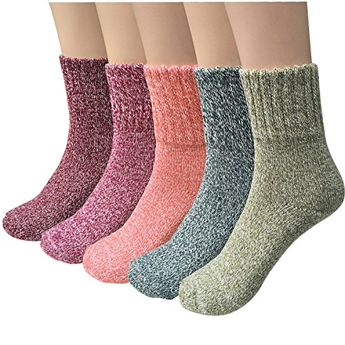 ysense Damen Dick Knit Warm Casual Wolle Crew Winter Socken, 5 Stück (Casual Crew-socken)