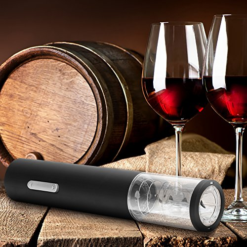 GHB Sacacorchos Sacacorchos Electrico Abridor de Botellas de Vino con Cortador de Hojas Color Negro