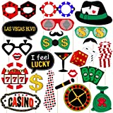 Amosfun Las Vegas Casino Photo Booth Requisiten Las Vegas Nacht Party Dekorationen Glitter Selfie Requisiten Kreative Party Supplies, Pack von 24