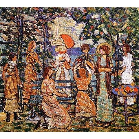 Ladies In A Seaside Arbor - By Maurice Prendergast - Impresión en lienzo 28x25 pulgadas - sin