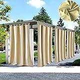 UniEco Outdoor Vorhang mit Klettverschluss Gartenlauben Balkon-Vorhänge Verdunkelungsvorhänge Wasserdicht Mehltau beständig für Pavillon Strandhaus, 1 Stück,132x275cm,Beige