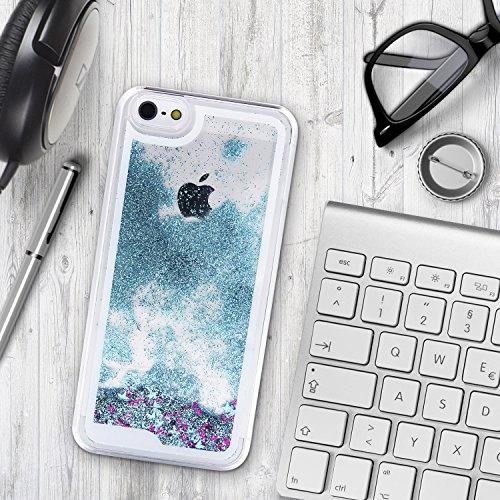 Urcover® Apple iPhone 5 / 5s / SE Schutzhülle Glitzer Liquid Back-Case Cover in Silber Glitter Wasser Smartphone Schale Blau