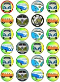 "X24 1.5"" Camper Van Cup Cake Toppers Decorations on Edible Rice Paper"