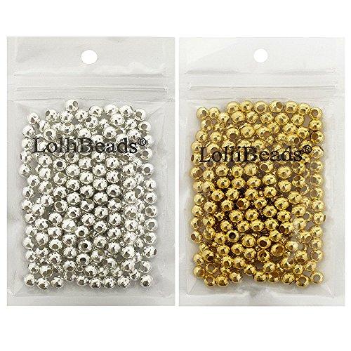 LolliBeads (R) Schmuckperlen, runde Abstandhalter-Perlen aus Metall, metall, Gold/Silver 600 Pcs 6mm, 6 mm