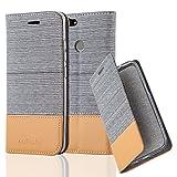 Cadorabo Hülle für Huawei NOVA - Hülle in HELL GRAU BRAUN – Handyhülle mit Standfunktion und Kartenfach im Stoff Design - Cas