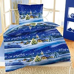 Biancheria da letto panno in pile termico natale villaggio con cerniera 2 pezzi - Biancheria da letto amazon ...