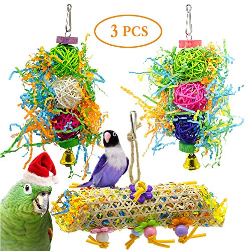 AIDIYA Vogelspielzeug, 3 Packungen für Sittiche, Vogelkäfig-Spielzeuge, Schaukel zum Kauen von Papageien, Sitzstangen mit Glocke, Holzleiter, Hängematte für Sittiche, Nymphensittiche