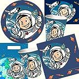 Dekospass - Juego de platos y vasos para fiesta (104 piezas, con invitaciones, servilletas, para niños), diseño de astronauta