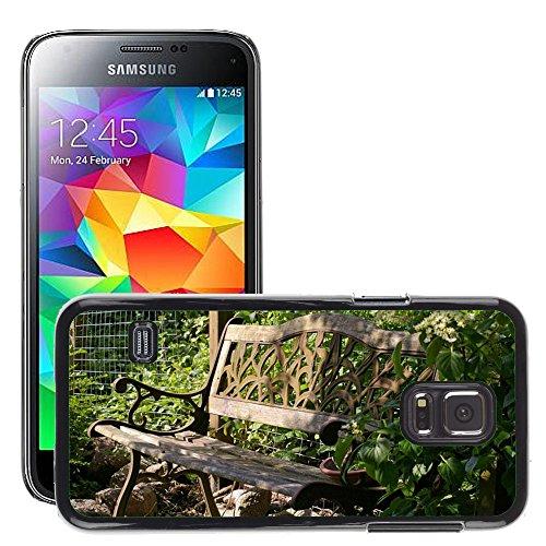 Hülle Case Schutzhülle Cover Premium Case // M00290833 Garten-Bank Bank Lehne Sitz Holz // Samsung Galaxy S5 MINI SM-G800