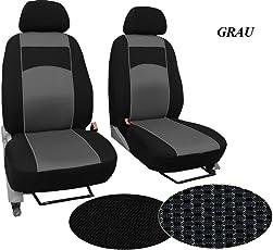 POK-TER-BUS Maßgefertigter Sitzbezug, Modellspezifischer Sitzbezug Fahrersitz + Beifahrersitz Für VW T6 MULTIVAN. Super Qualität, STOFFART VIP. in Diesem Angebot Grau (Muster im Foto).