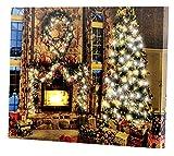 infactory Weihnachtsbilder: Wandbild Weihnachtliches Kaminzimmer mit flackernder LED, 40 x 30 cm (LED Leinwandbilder)