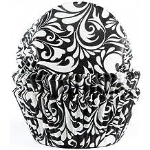 Moules à muffin avec imprimé en noir-lot de 50 caissettes en papier pour muffins