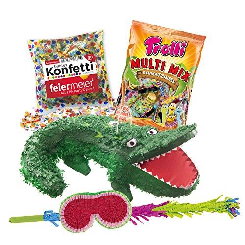 PINATA-SET: Pinata Krokodil + Schläger + Maske + Trolli Süßigkeiten-Füllung + Konfetti - Alligator - PARTYMARTY (Maske Alligator)