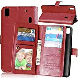 Crazy Horse Wallet 9 Card Slots Leather Phone Tasche