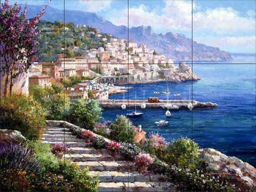 Murale di piastrelle di ceramica - Costiera Amalfitana - da Sam Parco/Soho Editions - Cucina splashback/doccia Bagno