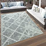 Paco Home in- & Outdoor Terrassen Teppich Marmor Optik Rauten Muster in Grau, Grösse:120x170 cm