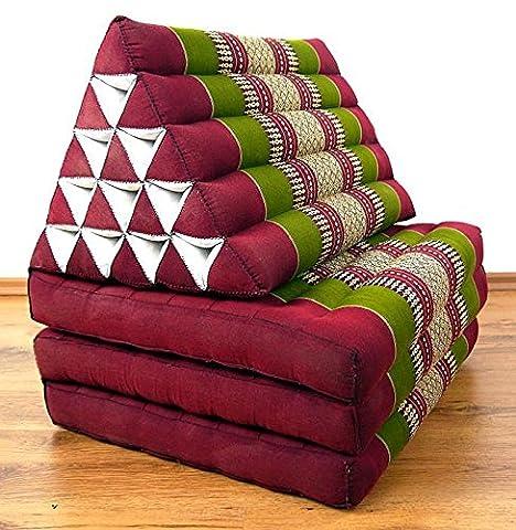 Thaikissen der Marke Asia Wohnstudio, Rot/Grün, Kapok Dreieckskissen, asiatisches Sitzkissen, Liegematte, Thaimatte (Thaikissen XXL Hoch)