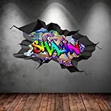 MULTI FULL COLOUR PERSONALISED 3D GRAFFITI NAME CRACKED WALL ART STICKERS DECAL MURAL