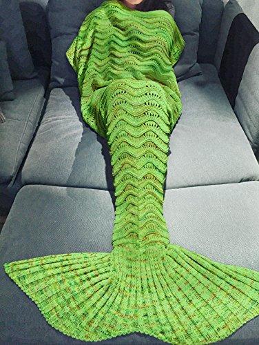 Preisvergleich Produktbild YiZYiF Meerjungfrau Decke Handgemachte Schwanz-flosse Strickdecke Blanket Sofa Schlafsack für Damen, Baby und Mädchen als Geschenke (Für Erwachsene, Apfelgrün (Apple Green))