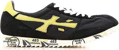 PREMIATA Scarpe da Uomo Sneaker Tessuto camoscio Pelle Hattori_2919 Nero Giallo