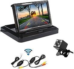 Drahtlose Auto-Unterstützungskamera 5 Zoll faltbare Farbe LCD TFT Monitor Mini-Größe einfache versteckte Kamera 170 Grad breite Ansicht hintere VIew Kamera-Unterstützung Nachtsicht wasserdicht