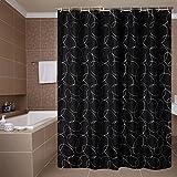 Weißer kreis duschvorhang, Badezimmer duschvorhänge Dick Wasserdicht und mehltau Partition Toilette vorhang Extra lange duschvorhänge-schwarz W220xH200cm(87x79inch)