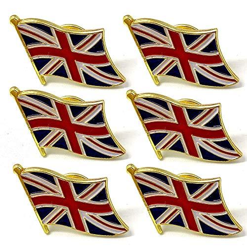 Goter 6 Stück Union Jack Badge Flag Pin - Metall Großbritannien Union Jack Anstecknadel Ideal für Ihre Jacke oder Mantel -