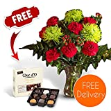 Gifts Flowers Food Best Deals - Fresh Flowers Delivered - Free UK Delivery - Valentines Red & Green Blooms Bouquet including Chrysanthemums and Carnations with Free Chocolates, Flower Food & Bonus Ebook Guide - Perfect For Valentines Day
