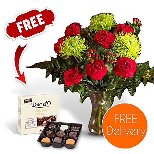 SendaBunch Fresh Christmas Flowers Delivered - Free UK Delivery - Festive Red amp; Green Blooms Bouquet including Chrysanthemums and Carnations with Free Chocolates, Flower Food amp; Bonus Ebook Guide - Perfec