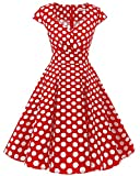 bbonlinedress 1950er Vintage Retro Cocktailkleid Rockabilly V-Ausschnitt Faltenrock Red White Big Dot XS
