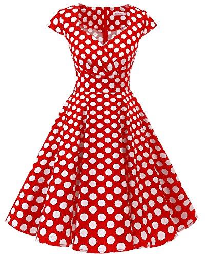 Bbonlinedress Robe Femme de Cocktail Vintage Rockabilly Robe plissée au Genou sans Manches col carré Rétro Red White Big Dot 2XL