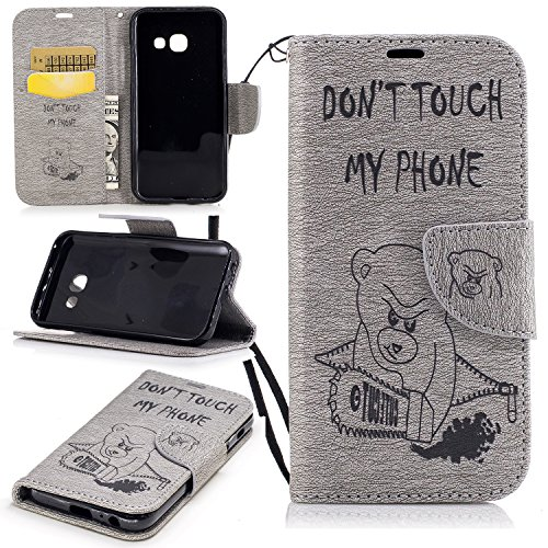 Cozy Hut Premium Handy Schutzhülle Tasche Leder Wallet Tasche Flip Brieftasche Etui Schale Mit Kartenfach Magnetverschluss Standfunktion für Samsung Galaxy A3 2017 - Gray Bear Kettensäge