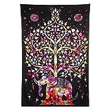 Finether indischer Wandteppich Wandbehang Mandala Elefant Tuch Wandtuch Gobelin Tapestry Goa Indien Hippie-/ Boho Stil als Dekotuch /Tagesdecke indisch orientalisch psychedelic bunt 215 x 150 cm FT-292