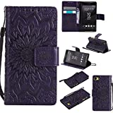 For Sony Xperia Z5 Mini/Compact Case [Purple],Cozy Hut [Wallet Case] Magnetic Flip Book Style Cover Case ,High Quality Classic New design Sunflower Pattern Design Premium PU Leather Folding Wallet Case With [Lanyard Strap] and [Credit Card Slots] Stand Function Folio Protective Holder Perfect Fit For Sony Xperia Z5 Mini/Compact 4,2 inch - purple