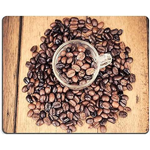 Liili Mouse Pad-Tappetino per Mouse in gomma naturale con immagine di chicchi di caffè tostati ID 32502193 su tavolo di legno con filtro, stile vintage