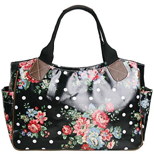 gossip-girl-oilcloth-day-bucket-bag-tote-handbag-polka-dot-spot-flower-floral-butterfly-bird-owl-new