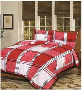 Single Bed Red Check Print Hamilton Modern Duvet / Quilt